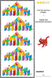 Picture riddle - find two identical images of toy tower gates. Visual puzzle: Find two identical images of colorful toy tower gates made of building blocks Royalty Free Stock Photo