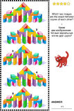 Picture riddle - find two mirrored copies of toy tower gates images. Visual puzzle with pictures of  toy tower gates made of colorful building blocks: Which two Royalty Free Stock Image