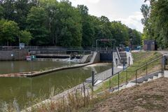 Picture from the river pleiße with a boats lock royalty free stock photos