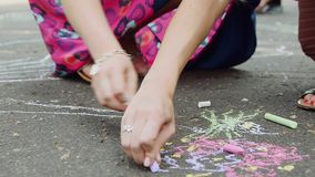 Picture on the road with chalks Stock Photo