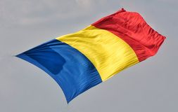 Romanian flag in air stock photo