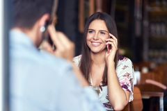 Romantic couple dating in restaurant. Picture of romantic couple dating in pub stock image