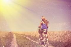 Picture of romantic pretty female travel with Royalty Free Stock Photos