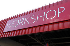 Picture of rooftop Workshop Text Sign Royalty Free Stock Photos
