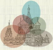 Picture of Russian church ink on notebook sheet. With colored spots Royalty Free Stock Photos