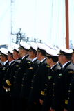Picture of sailing officers at parade lineup Royalty Free Stock Photography