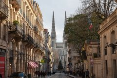 Bordeaux Cathedral Cathedrale Saint Andre seen from Vital street, in the historic medieval part of the city. stock photos