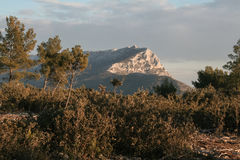 Picture of Sainte Victoire mountain in winter, surrounded by a typical Provence forest. Sainte Victoire mount taken from its surrounding forest at sunset in Stock Photography