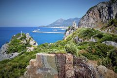 View over beautiful flora and blue sea in Samos island royalty free stock images