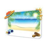 Picture of the sand beach landscape on white background. Royalty Free Stock Photos