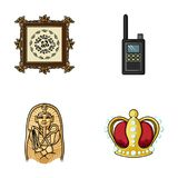 Picture, sarcophagus of the pharaoh, walkie-talkie, crown. Museum set collection icons in cartoon style vector symbol Stock Photos