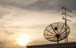The Picture Satellite dish on Evening light Royalty Free Stock Photo