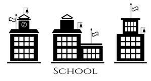 Picture of school buildings, text school vector illustration
