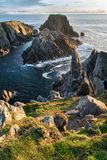 Malin Head Sea Rocks. This is a picture of the sea cliffs and rocky coast at Malin Head in Ireland. This was the film location of the last Star Wars movie Stock Images