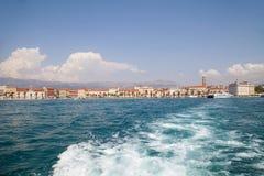 Sea waves and Split Old Town, Croatia Stock Photo