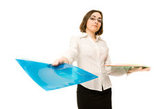 Picture of a secretary with folders Royalty Free Stock Photos