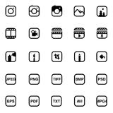 Picture set icons. Multimedia set icons, pictures and graphics Stock Photos