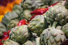 Buckets of Globe Artichokes for sale on a Canadian market in Montreal, Quebec. Artichokes are massively producted in America. Picture of several buckets of Green royalty free stock photography