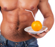 Picture of sexy body and fruit Royalty Free Stock Image