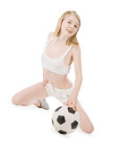 Picture of sexy woman with soccer ball over white Stock Photography