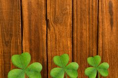 Picture of shamrock for st patricks day. On wooden background Stock Images