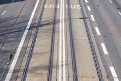 Picture of shared tram and bus lane in a city.  Stock Image
