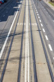 Picture of shared tram and bus lane in a city.  Royalty Free Stock Image