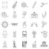 Picture show icons set, outline style. Picture show icons set. Outline set of 25 picture show vector icons for web isolated on white background Stock Image