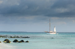 Picture showing a big sailboat on sea Stock Photo