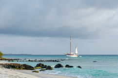 Picture showing a big sailboat on sea Royalty Free Stock Photo