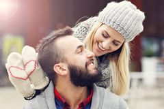 Picture showing happy young couple dating in the city Stock Images