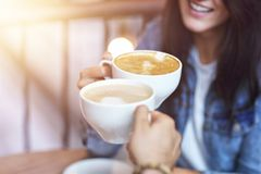 Romantic couple dating in cafe. Picture showing romantic couple dating in cafe stock image