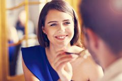 Romantic couple dating in restaurant. Picture showing romantic couple dating in restaurant stock image