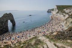 A beach and the sea - Durdle Door, Dorset, England. Royalty Free Stock Photos