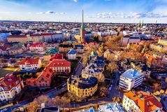Aerial view of Helsinki. This picture shows the beautiful colorful houses in helsinki city taken by drone royalty free stock images