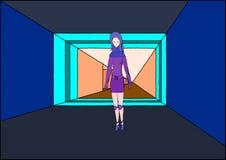 A girl in corridor royalty free illustration
