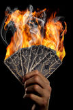 Cards on fire. The picture shows a hand holding some burning cards royalty free stock images