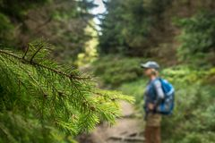 Photo of a happy girl walking along a mountain trail royalty free stock image