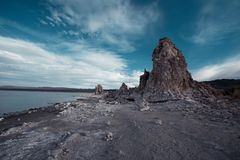 A large rock formation in Mono Lake. This picture shows a large salt rock formation in Mono Lake California royalty free stock photography
