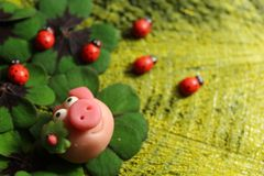 Marzipan pig on lucky clover and ladybirds stock photo