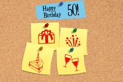 A pin board and happy 50th birthday