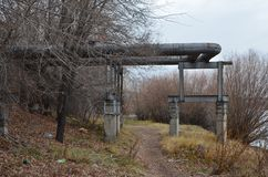 A pipe turn over the walkway. This picture shows a pipe turn over the walkway stock photos