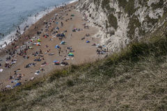 Beach and meadow, Durdle Door, England. The picture shows some people on the beach in Durdle Door in Dorset, England Stock Photo