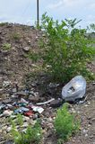Some trash on a hill stock image