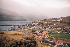 The town of eidi in the faroe islands. This picture shows the town of eidi in the faroe islands Royalty Free Stock Image
