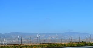 Wind generators along the road. Wind energy. Wind power. Wind power station. Clean nature, clean electricity. Stock Image