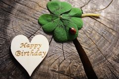 Happy birthday greetings. The picture shows a wooden heart with happy birthday greetings and lucky clover with a ladybird stock photography