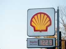 Shell logo in front of one of their gas stations in Canada. Shell is a British Dutch Petroleum production and sale corporation. Picture of a sign with the logo royalty free stock photos