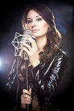 Picture of singer with studio microphone Royalty Free Stock Image