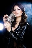 Picture of singer with studio microphone. Picture of beautiful singer with studio microphone royalty free stock images